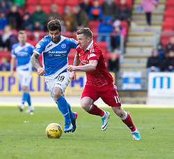 St Johnstone's Richard Foster and= Aberdeen's Johnny Hayes. St Johnstone 1 v 2 Aberdeen. SPFL Ladbrokes Premiership game played 15/4/2017 at St Johnstone's home ground, McDiarmid Park.
