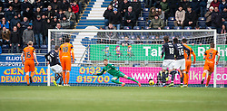 Falkirk's Aaron Muirhead scoring their second goal from a penalty. Falkirk 3 v 0 Dundee United, Scottish Championship game played 11/2/2017 at The Falkirk Stadium.