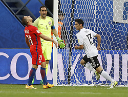 July 3, 2017 - Saint Petersburg, Russia - Marcelo Diaz (L) of Chile national team and Claudio Bravo (C) of Chile national team react as Lars Stindl of Germany national team celebrates his goal during FIFA Confederations Cup Russia 2017 final match between Chile and Germany at Saint Petersburg Stadium on July 2, 2017 in Saint Petersburg, Russia. (Credit Image: © Mike Kireev/NurPhoto via ZUMA Press)
