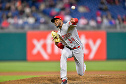 April 11, 2018 - Philadelphia, PA, U.S. - PHILADELPHIA, PA - APRIL 11: Cincinnati Reds relief pitcher Amir Garrett (50) releases his pith during the MLB game between the Cincinnati Reds and the Philadelphia Phillies on April 11, 2018 at Citizens Bank Park in Philadelphia PA. (Photo by Gavin Baker/Icon Sportswire) (Credit Image: © Gavin Baker/Icon SMI via ZUMA Press)