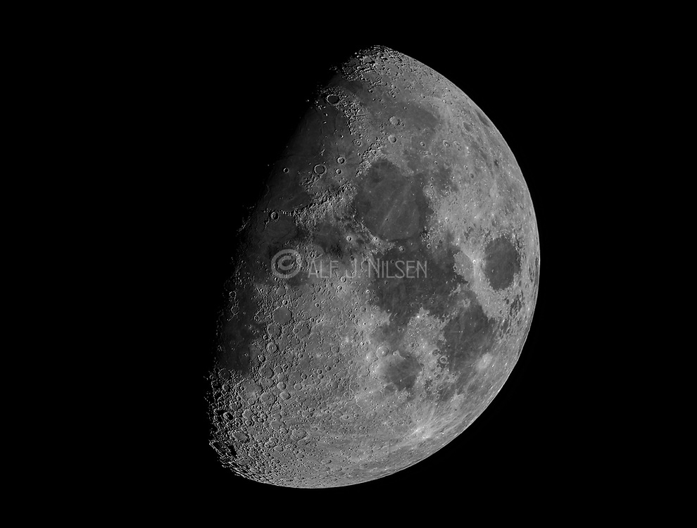 Goibbous moon photographed through a Ha-filter from south-western Norway on December 23rd 2020.