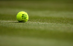 A Slazenger branded tennis ball on day one of the Wimbledon Championships at the All England Lawn Tennis and Croquet Club, Wimbledon.