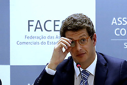 August 26, 2019, Sao Paulo, SP, Brazil: The Brazilian environment minister RICARDO SALLES during meet into Commercial Association of the Sao Paulo. (Credit Image: © Marcelo Chello/ZUMA Wire)