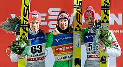 05.12.2015, Lysgards Schanze, NOR, FIS Weltcup Ski Sprung, Lillehammer, Herren, im Bild Podium, v.l.: Kenneth Gangnes (NOR), Severin Freund (GER), Andreas Stjernen (NOR) // fl.: Kenneth Gangnes of Norway, Severin Freund of Germany, Andreas Stjernen of Norway during Mens Skijumping Competition of FIS Skijumping World Cup at the Lysgards Hill, Lillehammer, Norway on 2015/12/05. EXPA Pictures © 2015, PhotoCredit: EXPA/ JFK