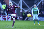 Free kick from Hearts' new signing Steven Naismith during the William Hill Scottish Cup 4th round match between Heart of Midlothian and Hibernian at Tynecastle Stadium, Gorgie, Scotland on 21 January 2018. Photo by Kevin Murray.