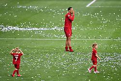 June 2, 2019 - Madrid, Spain - 190601 Virgil van Dijk of Liverpool celebrate with children on the pitch after the UEFA Champions League final between Tottenham and Liverpool on June 1, 2019 in Madrid..Photo: Petter Arvidson / BILDBYRÃ…N / kod PA / 92302 (Credit Image: © Petter Arvidson/Bildbyran via ZUMA Press)
