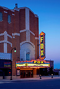 Hutchinson's Fox Theatre is a non-profit  regional center for the arts and is considered one of the finest examples of theatre art deco architecture in the Central United States. The art deco theatre was built in 1931 and its marquee was the first flashing display of neon in Kansas. The theatre is listed on the National Register of Historic Places.
