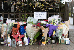 © Licensed to London News Pictures. 02/04/2018. London, UK. Flowers and Champagne bottles are left in tribute near Ellerton Road in Wandsworth, south west London, where 20 year old Devoy Stapleton was stabbed to death at 1am on Sunday 1st April - the 31st fatal stabbing this year in the capital. It is being reported that London's murder rate has overtaken New York's.   Photo credit: Peter Macdiarmid/LNP
