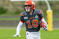 KELOWNA, BC - SEPTEMBER 22:  Conor Richard #10 of Okanagan Sun runs with the ball against the Valley Huskers at the Apple Bowl on September 22, 2019 in Kelowna, Canada. (Photo by Marissa Baecker/Shoot the Breeze)