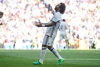Real Madrid's Marcelo during La Liga match between Real Madrid and Atletico de Madrid at Santiago Bernabeu Stadium in Madrid, April 08, 2017. Spain.<br /> (ALTERPHOTOS/BorjaB.Hojas)