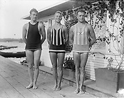 """""""MAAC swimmers Pendleton 1916. Phil Patterson, Bill Royle, Locke Webster"""" (winged M shirt)"""