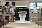 SHANGHAI, CHINA - JUNE 05: (CHINA OUT) <br /> <br /> Swarovski Crystal Toilet Seat In Shanghai<br /> <br /> A toilet seat decorated with 72,000 Swarovski crystals is on display during the Kitchen & Bath China 2015 at Shanghai New International Expo Center on June 5, 2015 in Shanghai, China. The toilet seat is priced at 500,000 yuan (80,550 USD). <br /> ©Exclusivepix Media