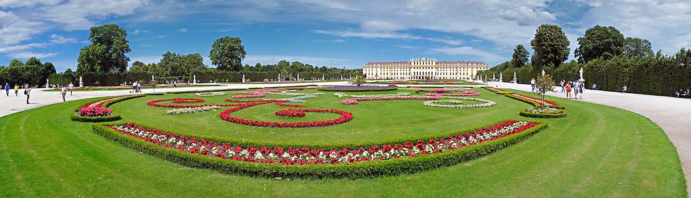 Manicured gardens at Schonbrunn Palace, Vienna, Austria