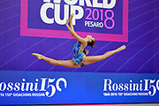 Hudis Veronika during the qualification of the hoop at the Pesaro World Cup 2018.<br /> She is an Azerbaijani gymnast from the Ukraine origin born in 2002.