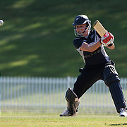 Kate Pulford batting during the match between New Zealand and Pakistan in the Super 6 stage of the ICC Women's World Cup Cricket tournament at Drummoyne Oval, Sydney, Australia on March 19, 2009. New Zealand won the match by 223 runs. Photo Tim Clayton
