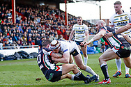 York City Knights hooker Will Jubb (20) scores a try to make the score 24-6 during the Betfred League 1 match between York City Knights and Keighley Cougars at Bootham Crescent, York, England on 25 March 2018. Picture by Simon Davies.