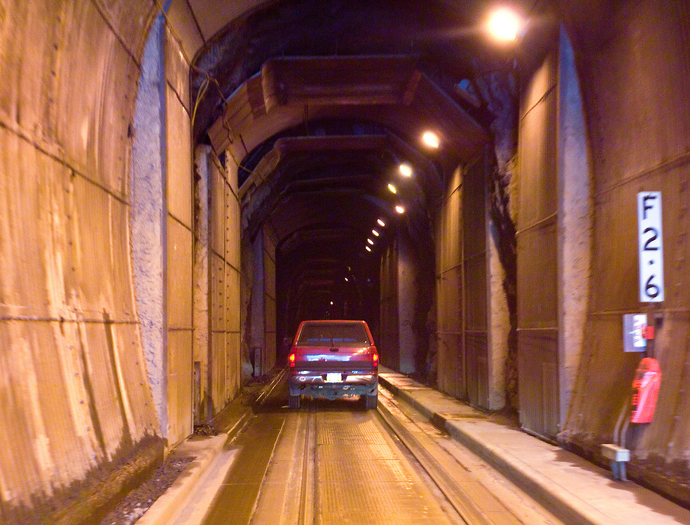 Driver's viewpoint in the Anton Anderson tunnel which connects Whittier with Bear Valley