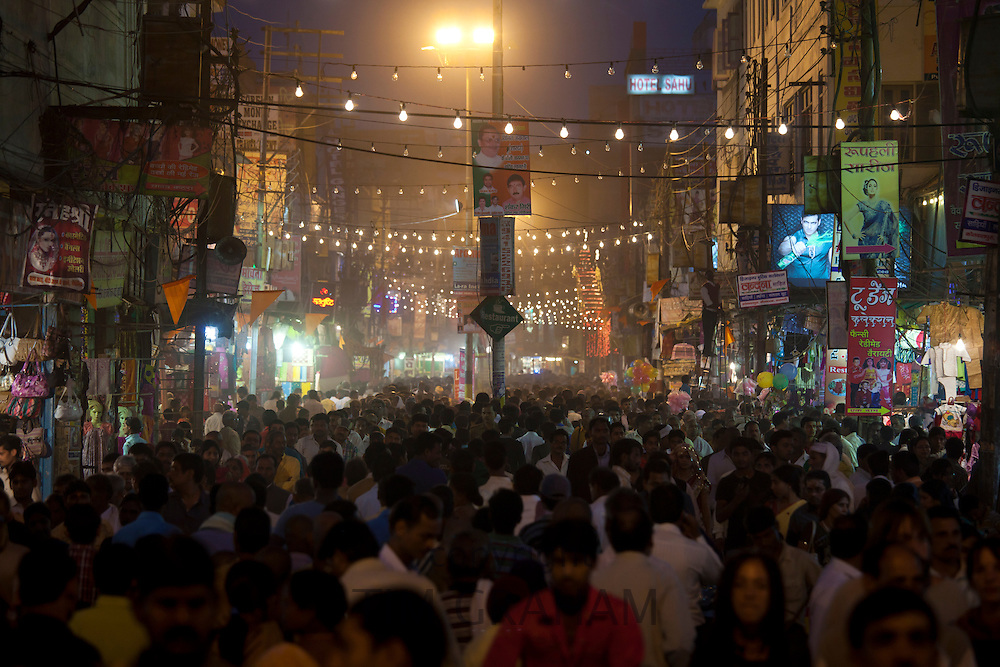 Huge crowds for holy Festival of Shivaratri in the streets of the holy city of Varanasi, Benares, Northern India
