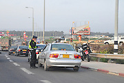 Israel, Traffic Cop stops a car for inspection