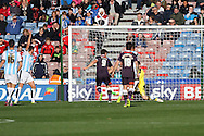 Chris Martin of Derby County shoots and scores his teams 1st goal. Skybet football league Championship match, Huddersfield Town v Derby county at the John Smith's Stadium in Huddersfield , Yorkshire on Saturday 24th October 2015.<br /> pic by Chris Stading, Andrew Orchard sports photography.