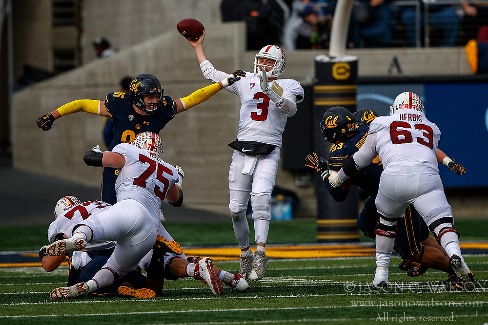 BERKELEY, CA - DECEMBER 01: Quarterback K.J. Costello #3 of the Stanford Cardinal passes against the California Golden Bears during the second quarter at California Memorial Stadium on December 1, 2018 in Berkeley, California. (Photo by Jason O. Watson/Getty Images) *** Local Caption *** K.J. Costello