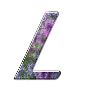 The Capitol Letter L Part of a set of letters, Numbers and symbols of 3D Alphabet made with a floral image on white background