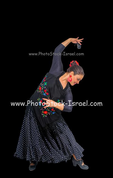 Flamenco style Spanish dancer Studio shot on black background