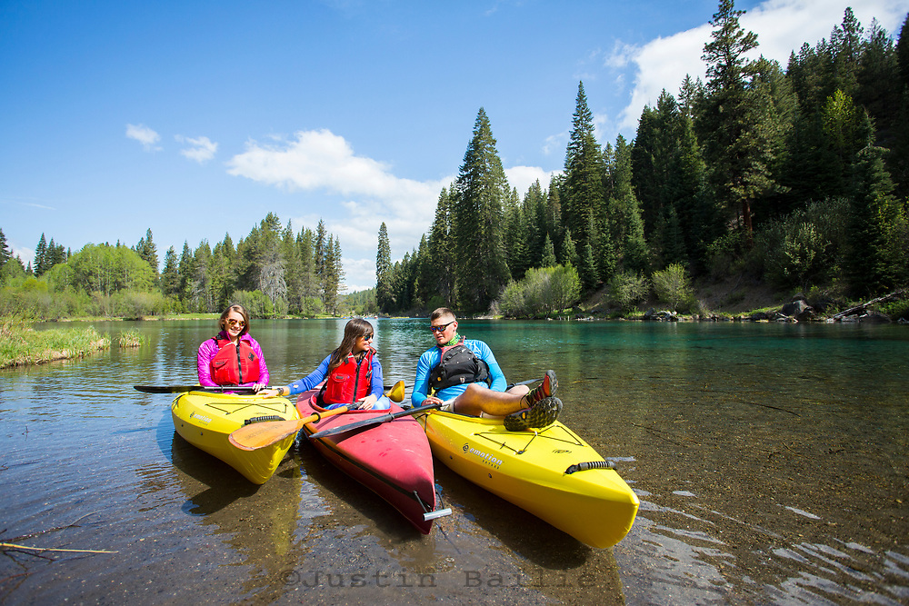 Kayaking at Jackson F Kimball State Recreation Site, which sits at the headwaters of the Wood River in Southern Oregon.