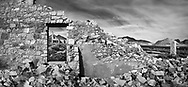 The remnant of a bygone era, a crumbling building at Rhyolite Nevada, an abandoned town near Death Valley in Nevada, USA