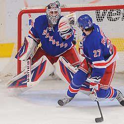 April 30, 2012: New York Rangers goalie Henrik Lundqvist (30) makes a catching glove save in front of defenseman Ryan McDonagh (27) during first period action in Game 2 of the NHL Eastern Conference Semifinals between the Washington Capitals and New York Rangers at Madison Square Garden in New York, N.Y.