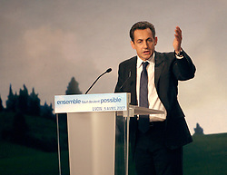 UMP presidential candidate Nicolas Sarkozy holds a rally in Lyon, France, on April 5, 2007. Photo by Vincent Dargent/ABACAPRESS.COM