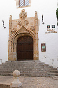 Ornate carved entrance door to the Palau Maricel de Terra palace. Sitges, Catalonia, Spain