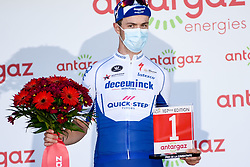 Remi CAVAGNA (FRA) pictured celebrating on the podium as he receives the most aggressive rider prize at the end of stage 19 of Tour de France cycling race, over 166,5 kilometers (103.4 miles) with start in Bourg-en-Bresse and finish in Champagnole, France,Friday, September 18, 2020.//JEEPVIDON_1615019/2009191627/Credit:jeep.vidon/SIPA/2009191634 / Sportida