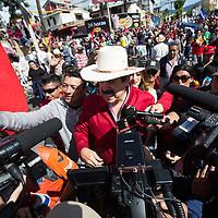 Ousted President Mel Zelaya jointed large crowds demonstrating against Juan Orlando Hernández and electoral fraud.