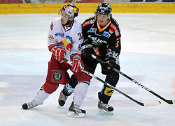 01.04.2010, Keine Sorgen Eisarena, Linz, AUT, EBEL, EHC Liwest Linz vs EC Red Bull Salzburg, Finale im Bild Marco Pewal Salzburg und Franklin MacDonald Linz, EXPA Pictures © 2010, PhotoCredit: EXPA/R.Eisenbauer / SPORTIDA PHOTO AGENCY