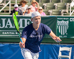 November 5, 2017 - Delray Beach, Florida, US - Actor TIMOTHY OLYPHANT in action on court at the Delray Beach Stadium and Tennis Center in Florida during the 2017 Chris Evert/ Raymond James Pro-Celebrity Tennis Classic. Chris Evert Charities has raised more than $23 million in an ongoing campaign for Florida's most at-risk children. (Credit Image: © Arnold Drapkin via ZUMA Wire)