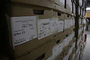 Boxes of recovered arrest files and other documents inside the National Police Historical Archives. On July 5, 2005, the historical archives of the now dissolved National Police were found in an abandoned arms depot in the outskirts of Guatemala City. The discovery of these millions of documents, which were allegedly lost after the 1996 Peace Accords, provide important evidence in the search for the thousands of people who were detained and subsequently disappeared by State security forces during the internal armed conflict (1960-1996). Guatemala City, Guatemala. August 25, 2010.