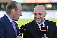 Former Wimbledon boss Dave Bassett and Ian Holloway ® during pre  match analysis with Sky Sports. Skybet football league two play off semi final, 1st leg match, AFC Wimbledon v Accrington Stanley at the Cherry Red Records Stadium in Kingston upon Thames, Surrey on Saturday 14th May 2016.<br /> pic by John Patrick Fletcher, Andrew Orchard sports photography.