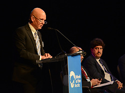 May 9, 2017 - Fairbanks, AK, U.S. - Tero Vauraste, Vice Chairman, Arctic Economic Council, and President and CEO of Arctia Ltd., from Finland, speaks at The Arctic-A Global Perspective session during the Arctic Council in Fairbanks, Alaska, on Tuesday, May 9, 2017. Listening is fellow panel member David Balton, Chair of the Senior Arctic Officials. (Credit Image: © Bob Hallinen/Alaska Dispatch News via ZUMA Wire)