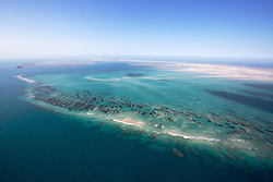 Aerial view of the sandbanks and reefs surrounding Adele Island on the Kimberley coast of Western Australia.