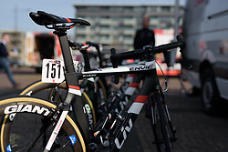 Lucinda Brand's bike waits patiently in the sun for the race at Ronde van Drenthe 2017. A 152 km road race on March 11th 2017, starting and finishing in Hoogeveen, Netherlands. (Photo by Sean Robinson/Velofocus)