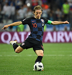 NIZHNY NOVGOROD, June 21, 2018  Luka Modric of Croatia shoots during the 2018 FIFA World Cup Group D match between Argentina and Croatia in Nizhny Novgorod, Russia, June 21, 2018. Croatia won 3-0. (Credit Image: © Li Ga/Xinhua via ZUMA Wire)