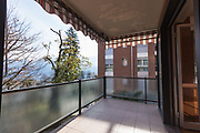 Terrace overlooking the nature of an apartment in Switzerland. Nobody inside