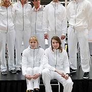 NLD/Amsterdam/20120306 - Presentatie olympisch team NUON - NOC-NSF Vattenfall, judoka Henk Grol, baanwielrenner Teun Mulder, beachvolleybalster Marleen van Iersel en Sanne Keizer, judoka Kim Polling, snowboarder Dimi de Jong en atletiekster Corine Nugter