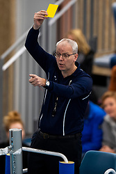 20-01-2019 NED: Talent Team Papendal - Achterhoek Orion, Ede<br /> Round 14 of Eredivisie volleyball. Orion win 3-01 of Talent Team / Referee Henk Viersen, yellow card, item