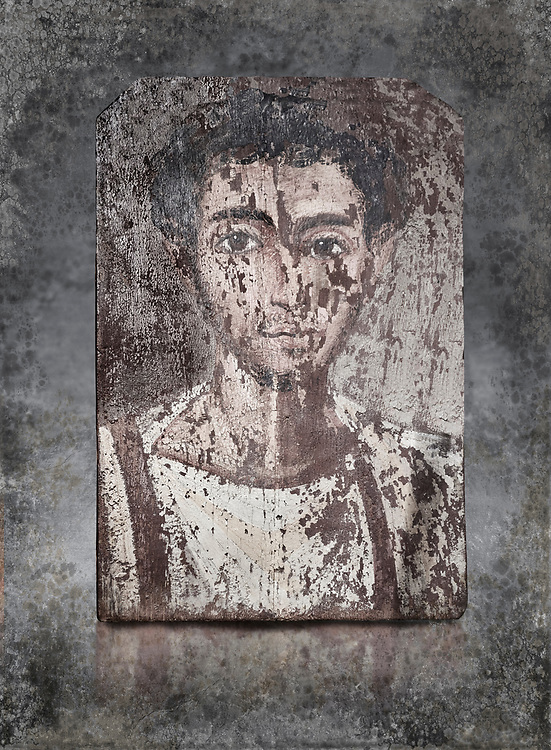 Egyptian Roman mummy portrait or Fayum mummy portrait painted panel of a man, Roman Period, 1st to 3rd cent AD, Egypt. Egyptian Museum, Turin. <br /> <br /> Mummy portraits or Fayum mummy portraits (also Faiyum mummy portraits) are a type of naturalistic painted portrait on wooden boards attached to Upper class mummies from Roman Egypt. They belong to the tradition of panel painting, one of the most highly regarded forms of art in the Classical world. he portraits covered the faces of bodies that were mummified for burial. Extant examples indicate that they were mounted into the bands of cloth that were used to wrap the bodies.