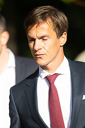 Danish Ryder Cup golfer Thorbjorn Olesen arrives at Isleworth Crown Court in West London where he faces allegations of sexual assault and being drunk on an aircraft. London, September 18 2019.
