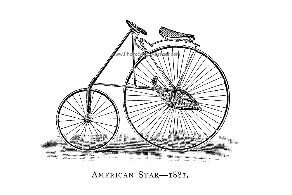 American Star bicycle made by H.P. Smith Machine Co., New Jersey, USA,  From Wheels and Wheeling; An indispensable handbook for cyclists, with over two hundred illustrations by Porter, Luther Henry. Published in Boston in  1892