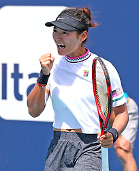 March 24, 2019 - Miami, FL, USA - Yafan Wang reacts after scoring a point while playing Danielle Collins on Sunday, March, 24, 2019 at the Miami Open in Miami Gardens, Fla. (Credit Image: © Charles Trainor Jr/Miami Herald/TNS via ZUMA Wire)