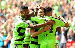 Christian Doidge of Forest Green Rovers celebrates his goal with team mates - Mandatory by-line: Nizaam Jones/JMP - 14/05/2017 - FOOTBALL - Wembley Stadium- London, England - Forest Green Rovers v Tranmere Rovers - Vanarama National League Final